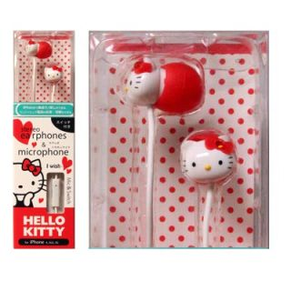 Licensed Hello Kitty 3.5mm Stereo Earphone Earbuds Headset w/ Mic Red