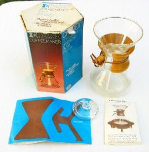 Chemex CM 2 manual drip glass coffee maker + lid, box; flask, pot, CM2