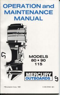 Mercury Outboard Owners Guide Early 1980s 80HP 90HP 115HP Original