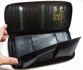 NWT Dopp 68933 Large Zip Around Passport Travel Black Leather Wallet $