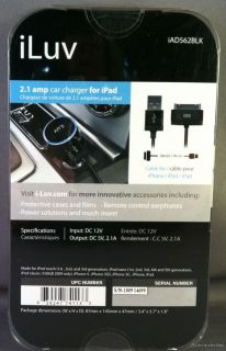 iLuv IAD562 Black USB DC Adapter Sync Cable for iPhone