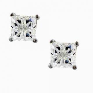 Square Princess Invisible Cut Stone Men Stud Earrings