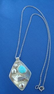 SIGNED DOROTHY R NAVAJO SOUTHWESTERN STERLING TURQUOISE NECKLACE