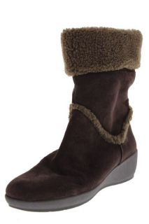 Easy Spirit NEW Evander Brown Suede Fold Over Faux Fur Wedge Boots