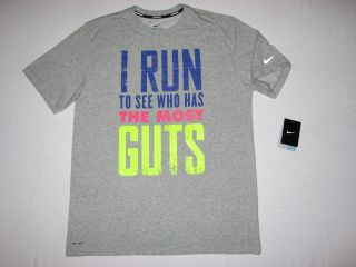 Nike Mens Running T Shirt Gray Dry Fit I Run to See Who Has The Most