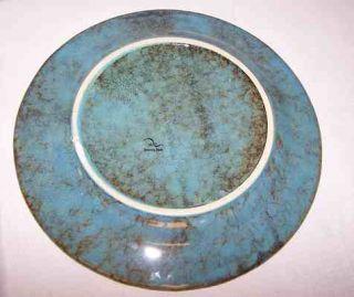 East Dennis Art Pottery Plate Blue Green w Pine Trees 11