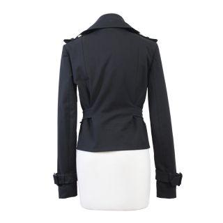 Dsquared Black Full Zip Double Breasted Coat Jacket US s EU 40