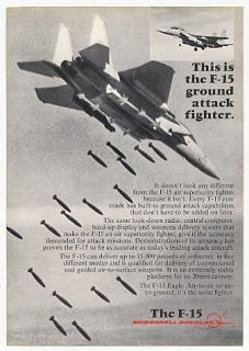 1976 McDonnell Douglas F 15 Eagle Fighter Jet Photo Ad
