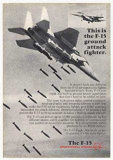 1976 McDonnell Douglas F 15 Eagle Fighter Jet Photo Ad