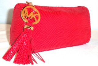 Michael Kors Signature Holiday Red Python Print Clutch with MK Tassel