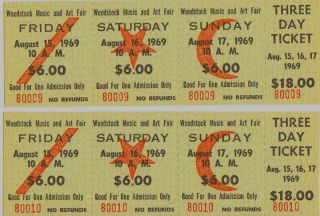 Authentic 1969 3 Day Woodstock Tickets Mint