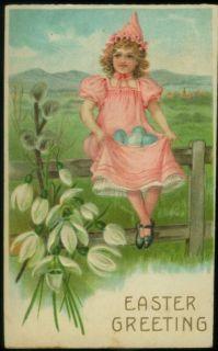 061411 LOVELY ANTIQUE EASTER POSTCARD GIRL IN PINK BLUE EGGS