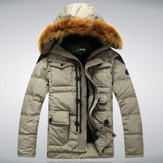 Down Jacket 90 Duck Down Fur Hoodie Jacket Mens Warm Winter Coat