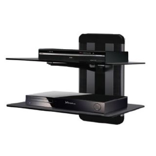 Wall Mount Dual Shelf Shelves for TV AV Component Bluray Player Cable