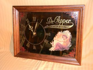 VINTAGE 1970s DR PEPPER SODA COKE COLA CLOCK MIRROR ELECTRIC *MINT IN