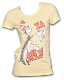 Dr. Seuss Cat In The Hat YA RLY Yellow Graphic Ladies Tee Shirt