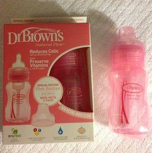 Dr browns Natural Flow 8 Oz Wide Neck Baby Bottles 2 Pack +1 Reduces