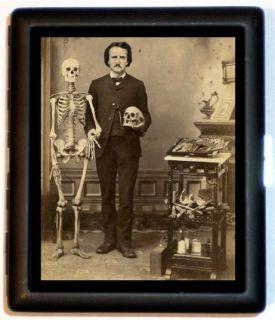 Edgar Allan Poe Victorian Medical Altered Art Skull Skeleton Cigarette