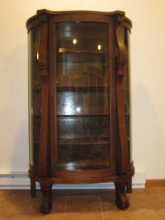 Ebert Furniture Co Antique Bowfront Oak China Curio Cabinet Glassware