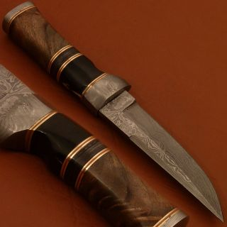 Stephen King 1 of A Kind Custom Damascus Bowie Knife Bull Horn Burl TS