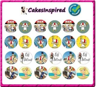 24 x Kick Buttowski Edible Rice Paper Cupcake Fairy Cake Toppers Free
