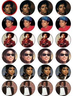 24 x Michael Jackson Edible Rice Paper Cake Toppers