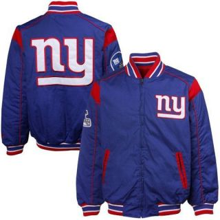 New York Giants Royal Blue Red Team Varsity Reversible Full Zip Jacket