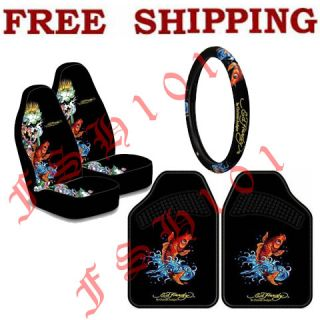 New Set Ed Hardy Koi Fish Seat Covers Steering Wheel Cover Floor Mats
