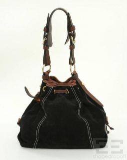 Bourke Black Suede Brown Leather Trim Drawstring Shoulder Bag