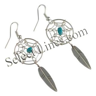 Arviso Sterling Silver Turquoise Dreamcatcher Earrings Navajo