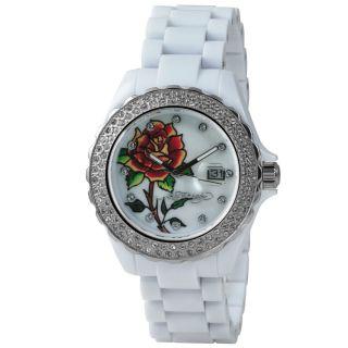 Ed Hardy White Roxy Swarovski Crystal Accent Watch