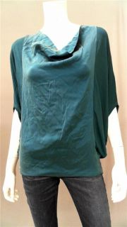Drew Dolman Misses s Silk Shirt Top Jade Blue Solid Batwing Sleeve