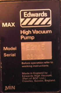 Edwards High Vacuum Pump E2M5 Rotary Vane Two Stage