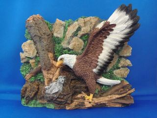American Bald Eagle with Babiess in Nest 3D Wall Desk Plaque New