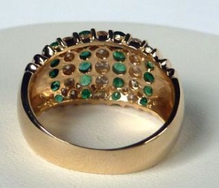 EFFY COLLECTION BH14K GOLD 1.50 CT NATURAL EMERALD+DIAMOND WIDE BAND