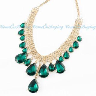 Chain Green Water Drop Tassel Pendant Choker Collar Necklace