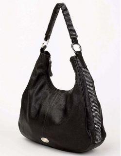 DX Touch Bag Swarovski Leather Black Bling Handbag Purse Large Hobo