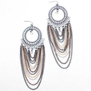 Crystal Rhinestone Chain Drape Chandelier Long Dangle Earrings