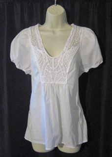 EDME & ESYLLTE WHITE ANTHROPOLOGIE PEASANT TOP BLOUSE SWISS DOT TRIM