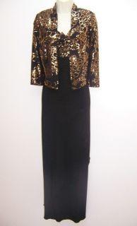 Alex Evenings Black Stretch Jersey Empire Waist Formal Gown Dress