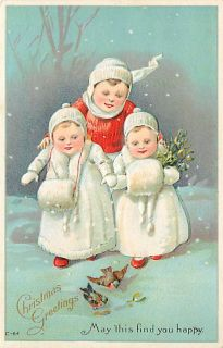 CHRISTMAS THREE CHILDREN IN SNOW FUR EARLY K29013