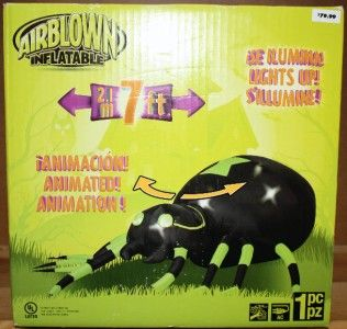 7ft Jemmy Air Blown Inflatable Halloween Spider New Lights Up Moves