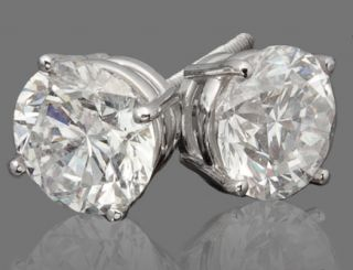 14 CARAT DIAMOND SOLID 14KT WHITE GOLD SOLITAIRE STUD EARRINGS