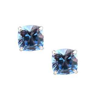 00 CARAT 14K SOLID WHITE GOLD CUSHION CUT AQUAMARINE STUD EARRINGS