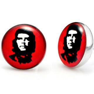 Mens Stainless Steel Che Guevara Stud Earrings Red Jewelry