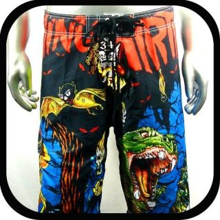 Minute Mirth Shorts Trunks Board Tattoo Surf K8 Sz 38 Skate Swim BMX