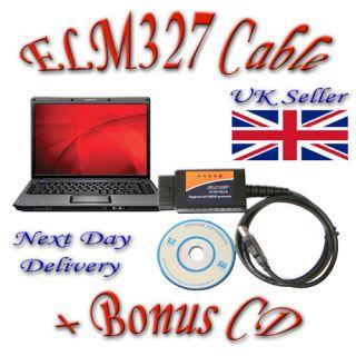 ELM327 Cable Bonus CD OBD 2 II Car Fault Diagnostic Interface Reader