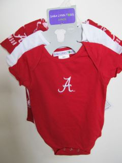 Alabama Crimson Tide 3 PC Onesies 12 Mos