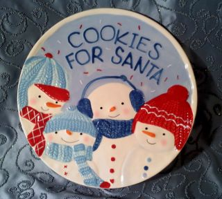 Holiday Snowman Cookies for Santa Plate Dish Creamic