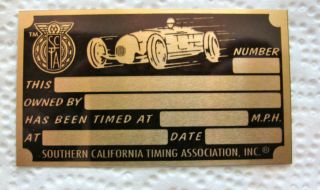 VINTAGE STYLE LAND SPEED RACING TIMING TAG SCTA EL MIRAGE BONNEVILLE